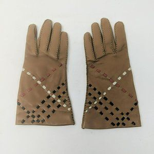 Burberry Tan Leather Weave Nova Check Gloves
